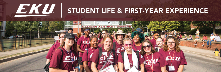 Banner for Student Life and First Year Experience with photo of students at Big E Welcome parade